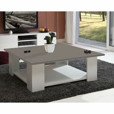 LIME Table basse carrée blanc + plateau taupe - AUCUNE - Table basse NEUF