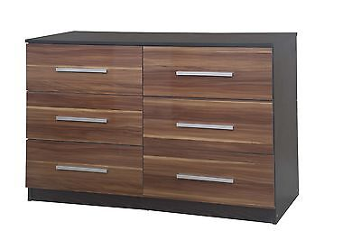 NEW High Gloss Walnut / Black Oak Large Lotus 6 Drawer Chest of Drawers