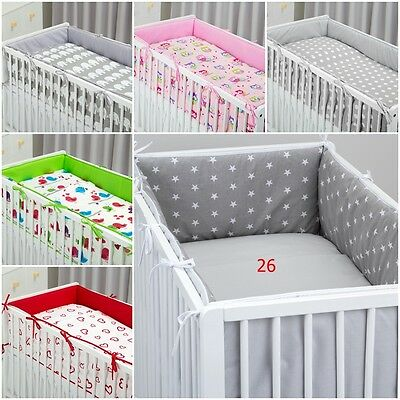 luxury ALL ROUND BUMPER REVERSIBLE DOUBLE-SIDED 4 SIDES COT /COT BED 360/420 CM