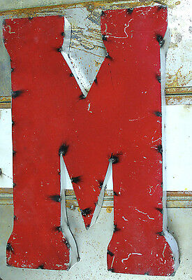 """20"""" 2-Tone Industrial Rustic Block Letter M Sign, Red/White Open Back"""