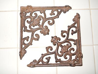 6 Cast Iron Antique Style ARROW Brackets, Garden Braces Shelf Bracket