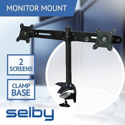 "Dekk Dual LCD 2 Screen Monitor Desk Mount Bracket with Clamp Base Max 24"" 12kg"