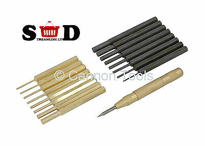 18 Pc Brass & Carbon Steel Punches Automatic Centre Drive Punch Pouch Kit Ct0867