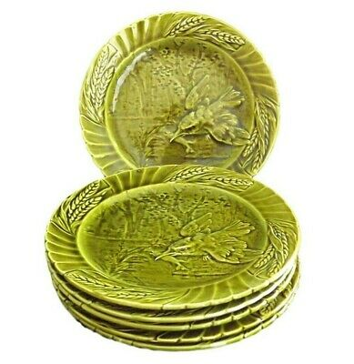French Set of 6 Antique Sarreguemines Green Majolica Plate Kingfisher Fish