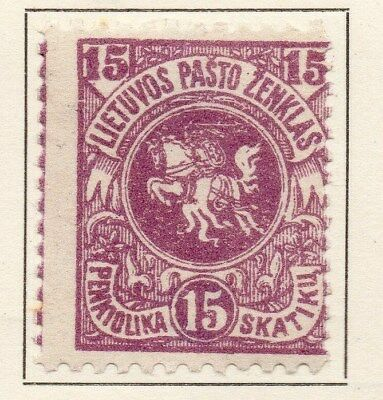 Lithuania 1919 Early Issue Fine Mint Hinged 15sk. 134341