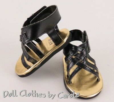 "Black Braided Sandals Shoes fit 18"" American Girl Dolls"