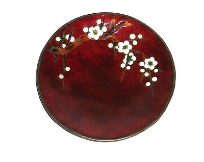 """White Tree Blossom Blood Red Cloisonne Enamel Small 4""""1/2 Pin Tray Plate"""