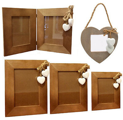 SHABBY CHIC WOODEN PHOTO FRAME with Hearts Single Double Standing Hanging