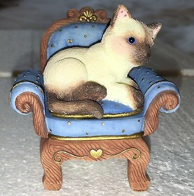 """ENESCO CALICO KITTENS #825646 """"LAP OF LUXURY"""" SIAMESE CAT ON CHAIR HILLMAN CATS"""