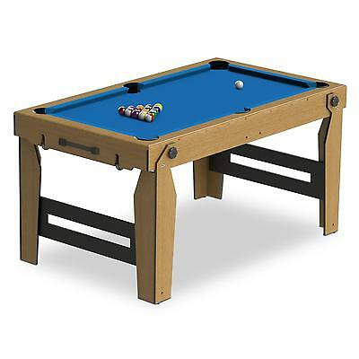 PROMO TABLE DE BILLARD PLIANTE RILEY 153x18x94CM SNOOKER MOBILE AVEC ROULETTES