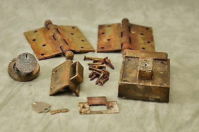 Vintage Brass 2 hinges 2 lock plates 1 Striker Plate 1 odd item 15 screws