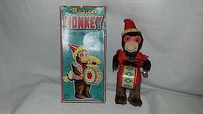 Rare Vintage Musical Monkey With Cymbal & Drum Wind Up Toy In Original Box