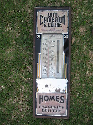 Old Large Art Deco Wm Cameron & Co Home Community Builder Thermometer E.c.thiel