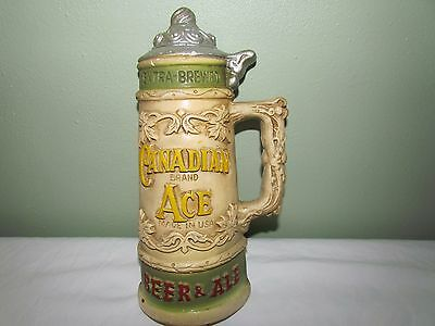 Rare Vintage Antique Canadian Ace Beer Stein Mug Chalkware Wall Plaque