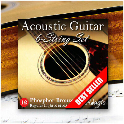3 Sets / Pack Adagio Bronze Acoustic Guitar Strings Medium 12-52 + FREE CHART