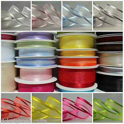 Satin Edge Sheer Organza Ribbon 25 METRE Reel 10mm 15mm 25mm 40mm 70mm Widths