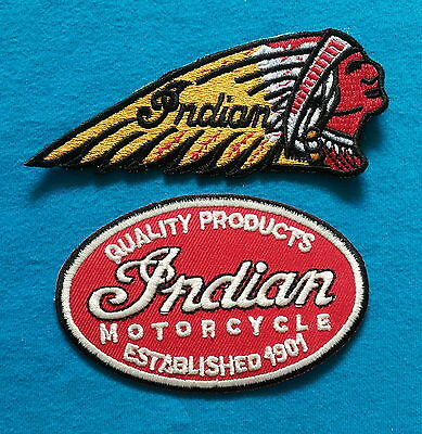 2 Lot INDIAN MOTORCYCLE Easy Embroidered Easy Iron On Patches  W/ FREE SHIPPING