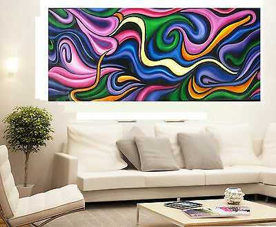 Huge Abstract Colour oil Painting Coa  Modern original By Jane  hand painted