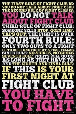 (LAMINATED) FIGHT CLUB MOVIE RULES POSTER (61x91cm)  PICTURE PRINT NEW ART