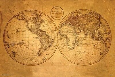OLD WORLD MAP POSTER Antique Style Wall Chart Art Print NEW Licensed