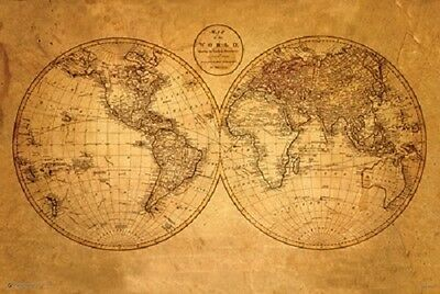 Old World Map  Poster (61X91Cm) Educational Wall Chart Picture Print New