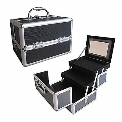 "10"" Pro Aluminum Makeup Train Case Jewelry Box Cosmetic Organizer Black"
