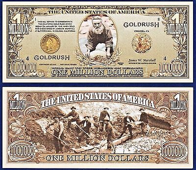 2-49er's California Gold Rush Million Dollar Bills Collectible- MONEY- P2