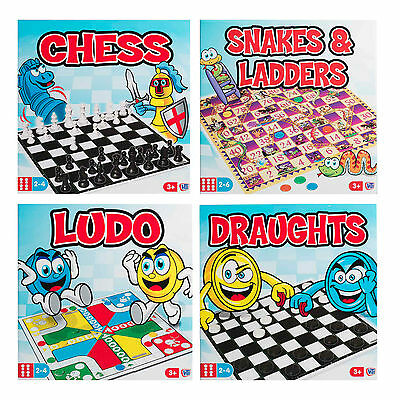 Traditional Board Games Full Size Fun Snakes And Ladders Ludo Draughts Chess