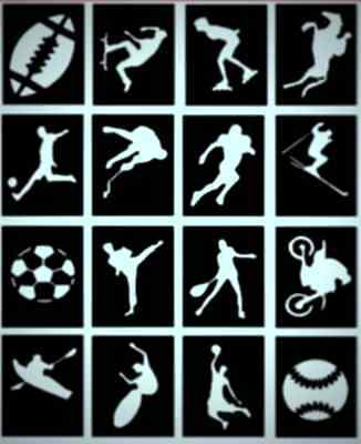 32 x Sports Glitter Tattoo stencils football, rugby, skating, karate and more