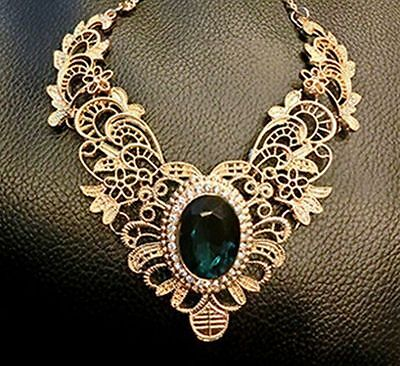 Vintage Women Jewelry Necklace Pendant Chain Statement Bib Chunky Collar Party