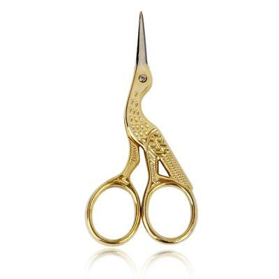 """Vintage 3.5"""" Stork Embroidery Sewing Craft Shears Cross Stitch Scissors Gold"""