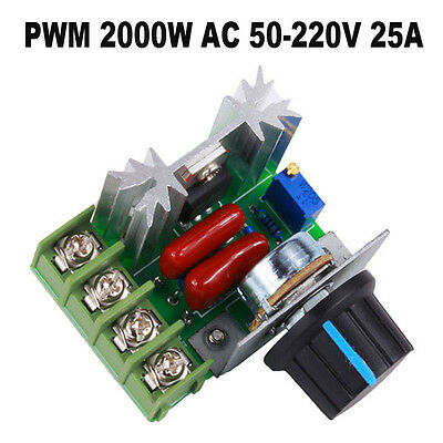 PWM Adjustable 2000W AC 50-220V 25A Motor Speed Controller Voltage Regulator New