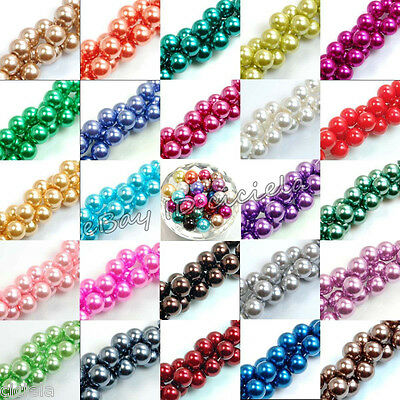 100pcs Top Quality Charms Czech Glass Pearl Round Beads 4mm 6mm 8mm 10mm 12mm