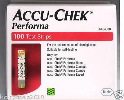 100 Test Strips for Accu-Chek Performa Blood Glucose Monitoring System Accuchek