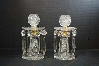 Antique English Cut Crystal Candlesticks