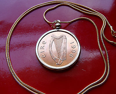 "CELTIC HARP IRISH Bird o Kells Coin Pendant  on a  24"" Gold Filled Snake Chain"