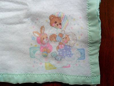 "Riegel Fisher Price TEDDY BEDDY BEAR Baby BLANKET by Riegel in USA 36""x45"""