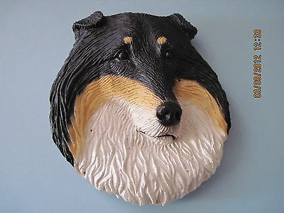 """Collie Tri 3D Magnet 3"""" x 2 1/2"""" Stone resign hand painted"""