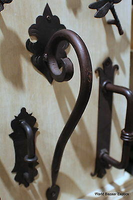 Scroll large Wrought Iron door handle dark bronze finish handmade