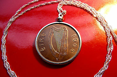 "Antique Lucky 1968  Irish Harp Penny Pendant on a  28"" 925 Silver Wavy Chain"