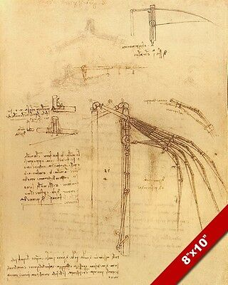 Leonardo Da Vinci Flying Mechanical Wing Sketch Painting Real Canvas Art Print