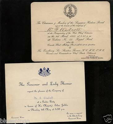 Singapore Harbour Inaugaration Straits Settlements Invitation 1935 + Governors