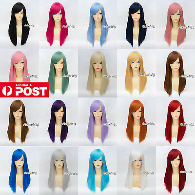 Women's Long Straight 55CM Black/Blonde/Pink/Green/Red Fashion Party Cosplay Wig