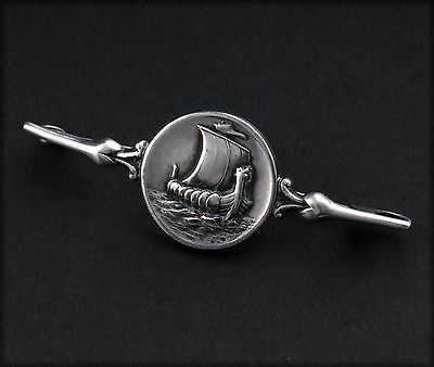 Antique GEORG JENSEN Silver Brooch with Viking Ship # 220. Harald Nielsen. RARE!