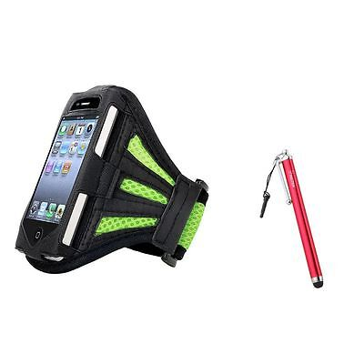Green Armband Leather Case+Red Touch Screen Stylus w/ Clip For iPod Touch 4 4G