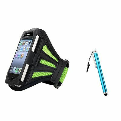 Green Armband Leather Case+Blue Touch Screen Stylus w/ Clip For iPod Touch 4 4G