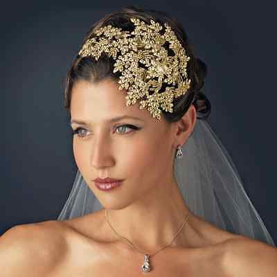 COUTURE Side Accent BRIDAL HEADBAND w/ Vintage Style Gold Crystal Leaves