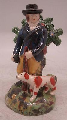 Staffordshire Pottery Figure 'The Hunter' - Man with Dog & Rifle - Bocage