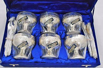 NEW *Set of 6* Lacquered Silver Plate Dessert Ice Cream Dishes Bowls Spoons Box