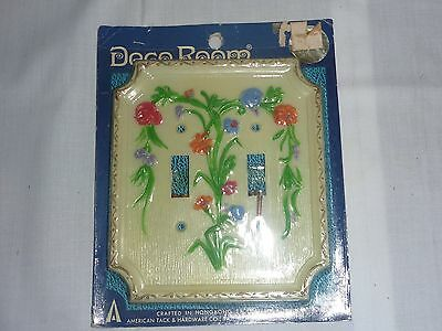 NOS Vintage Mid Century Double Switch Plate - Hand Painted Floral on White 17TT